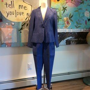 Banana Republic Classic Linen Suit Chambray Blue